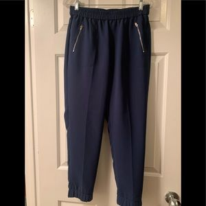 Navy Cropped Jogger with Elastic Waist